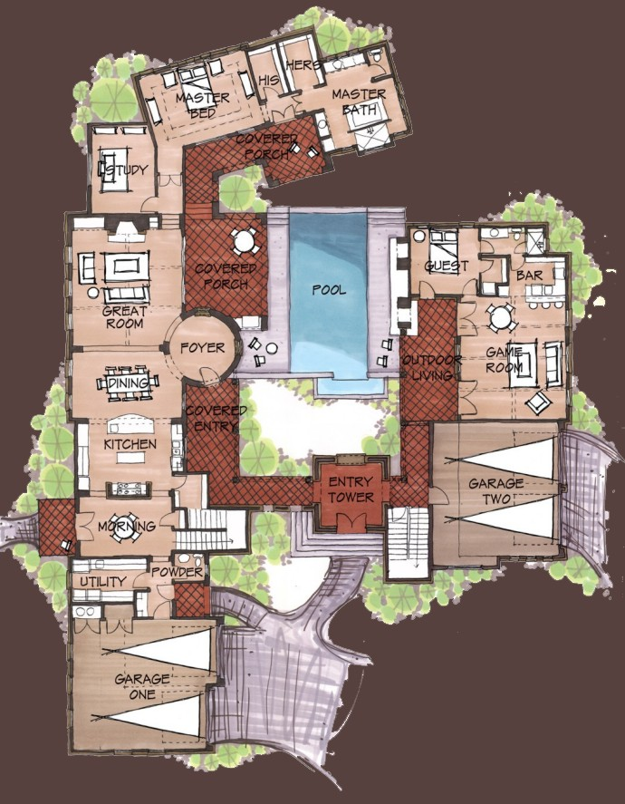 Spanish hacienda house plans find house plans Spanish style house plans with central courtyard